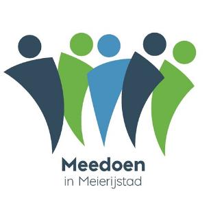 Het logo voor Inclusie van de gemeente Meierijstad met vijf verschillend gekleurde poppetjes en daaronder de tekst 'Meedoen in Meierijstad'.
