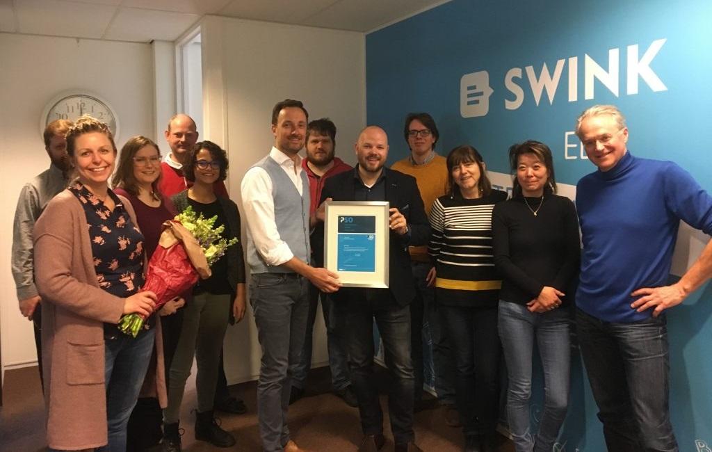 Overhandiging van het PSO 30+-certificaat aan Swink