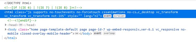 Screenshot van HTML code in Firefox