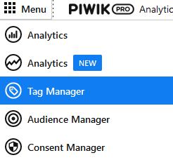Menu van Piwik Pro met lijst van vijf items, het derde item is Tag Manager.